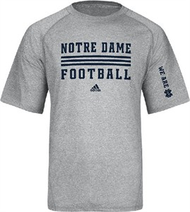 Notre Dame Fighting Irish Sidelines Evade Heather Grey Climalite SS Shirt by Adidas on Sale