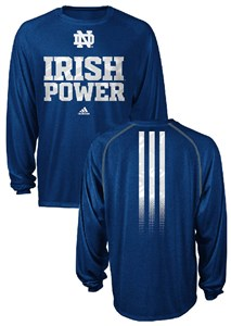 Notre Dame Fighting Irish Sidelines Power Heather Blue Climalite Long Sleeve Shirt by Adidas