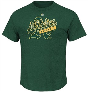 Oakland A's First Among Equals Majestic Triple Peak Cotton Short Sleeve T Shirt