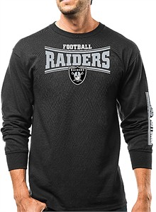 Oakland Raiders Mens Black Primary Receiver Long Sleeve Cotton T Shirt  03e36e836