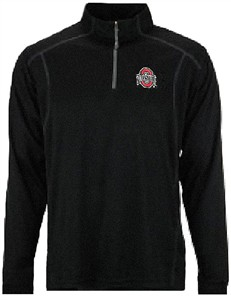 Ohio State Buckeyes Black Synthetic Quarter Zip Pullover Top by J. America on Sale