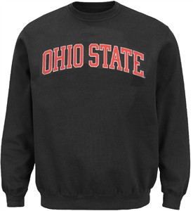 Ohio State Buckeyes Charcoal Stretch Arch Screened Crew Sweatshirt by J. America