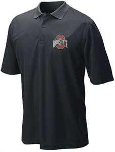 Ohio State Buckeyes Mens Black College Dark Logo Synthetic Polo Shirt on Sale