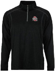 Ohio State Buckeyes Mens Black TriSoft Synthetic Quarter Zip Pullover Top