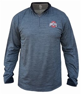 Ohio State Buckeyes Mens Grey Space Dyed Synthetic 1/4 Zip T Shirt