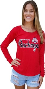 Ohio State Buckeyes Red Women's Favorite Long Sleeve Scoop Neck Shirt on Sale