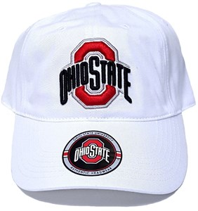 87fe7a18aea36 Ohio State Buckeyes White Relaxed-FIT Logo Adjustable Cap