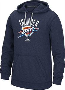 Oklahoma City Thunder Mens Blue Ultimate Logo Synthetic Hoodie Top by Adidas
