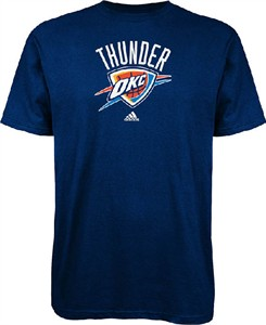 Oklahoma City Thunder Navy NBA Primary Logo Short Sleeve T Shirt by Adidas