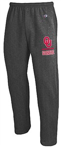 Oklahoma Sooners Adult Charcoal Open Bottom Powerblend Sweatpants by Champion