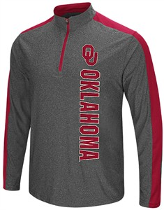Oklahoma Sooners Charcoal Splitter 1/4 Pullover Synthetic Windshirt