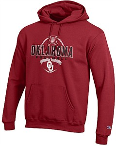 Oklahoma Sooners Crimson Football Powerblend Screened Hoodie Sweatshirt by Champion