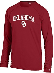 Oklahoma Sooners Crimson Vapor Dry Champion Powertrain Long Sleeve Tee Shirt