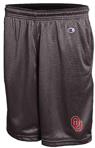 Oklahoma Sooners Men's Grey Poly Mesh Workout Shorts on Sale