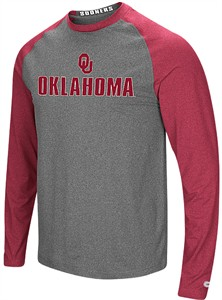 Oklahoma Sooners Mens Grey Social Skills Synthetic Long Sleeve Raglan T Shirt