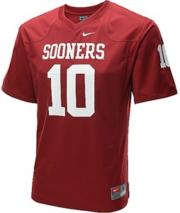 176730213 Oklahoma Sooners Youth Game  10 Crimson Football Jersey By Nike ...