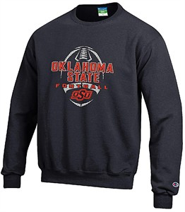 Oklahoma State Cowboys Black Football Powerblend Screened Crew Sweatshirt by Champion