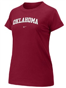 Oklahoma Sooners Crimson Womens 08/09 College Arch Short Sleeve Tee Shirt By Nike