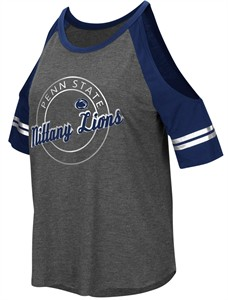 Penn State Nittany Lions Women's Mae Cold Shoulder Top-Grey