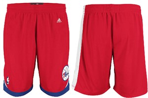 Philadelphia 76ers Red Embroidered Swingman Shorts By Adidas