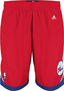 "Philadelphia 76ers Youth 8"" Inseam Red NBA Replica Basketball Shorts By Adidas"