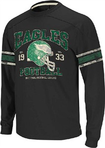 Philadelphia Eagles 11 Black Vintage Applique Long Sleeve Shirt by Reebok