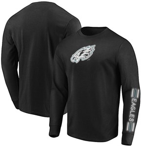Philadelphia Eagles Black Startling Success Long Sleeve Tee Shirt by Majestic