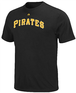 Pittsburgh Pirates Black Official Wordmark Short Sleeve T Shirt by Majestic