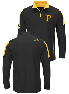 Pittsburgh Pirates Majestic Quarter Zip Status Inquiry Pullover Synthetic Wind Shirt