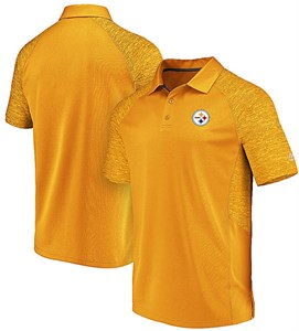 Pittsburgh Steelers  Mens Gold Majestic Reflective Logo Synthetic Polo Shirt