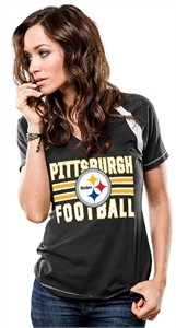 Pittsburgh Steelers Black Ladies Day Game Tee Shirt by Majestic