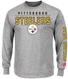 d4a4bfaab Pittsburgh Steelers Grey Dual Threat Mens Long Sleeve T Shirt by VF ...