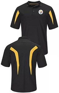Pittsburgh Steelers Mens Black Field Classic 14 Synthetic Polo
