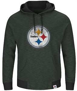 Pittsburgh Steelers Mens Black Game Day Classic Hoodie Sweatshirt by Majestic