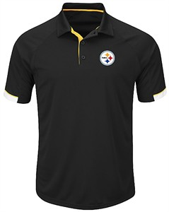 Pittsburgh Steelers Mens Black Majestic Last Second Win Synthetic Polo Shirt