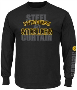 5da84853a07 Pittsburgh Steelers Mens Black Primary Receiver 3 Long Sleeve T Shirt