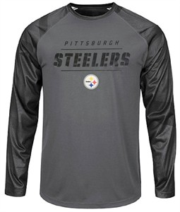 Pittsburgh Steelers Mens Grey Synthetic League Rival Long Sleeve T Shirt  c368e28e2