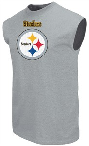 Pittsburgh Steelers Mens Grey Critical Victory 9 Sleeveless T Shirt by Majestic