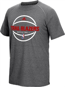 Portland Trail Blazers Adidas Slim Fit On-Court Dark Grey Pre-Game Ultimate Synthetic Short Sleeve T Shirt