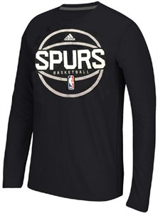 San Antonio Spurs Adidas Slim Fit On-Court Black Pre-Game Ultimate Synthetic Long Sleeve T Shirt
