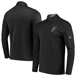 San Antonio Spurs Black  Half Zip Reflective Logo Mock Neck Wind Shirt
