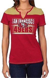 San Francisco 49ers Ladies Majestic Football Miracle Notch Neck T Shirt