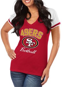 463808929 San Francisco 49ers Womens Go For It 4 V Neck Shirt by Majestic ...