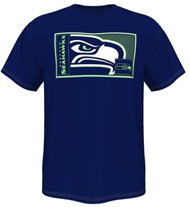 Seattle Seahawks Mens Blue HOF Gamer V Short Sleeve T Shirt on Sale