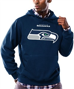 Seattle Seahawks Mens Navy Pullover Critical Victory 9 Hoodie Sweatshirt by Majestic