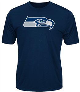 Seattle Seahawks Navy Synthetic Logo Tech Short Sleeve Tee Shirt