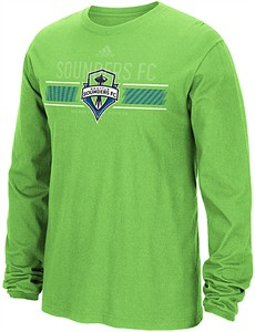 quality design d1c1e 91a78 Seattle Sounders Light Green Adidas Overlaid Long Sleeve T ...