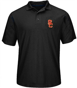 Southern Cal Trojans Mens Black SC Interlock Synthetic Polo Shirt