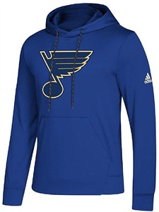 St. Louis Blues Blue Adidas Synthetic Poly Finished Hockey Hoodie Sweatshirt
