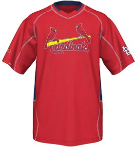 St. Louis Cardinals MLB Fast Action Synthetic V Neck Jersey by Majestic